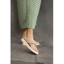 Женские шлепанцы кожаные летние бежевые Emirro 10517-505