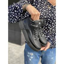 Підліткові черевики шкіряні зимові чорні Monster BAS