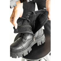 Жіночі черевики шкіряні весна/осінь чорні Udg 2145/1 на байці