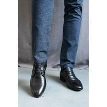 Мужские туфли кожаные весна/осень черные Belvas 31 на шнурках