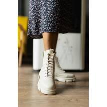 Жіночі черевики шкіряні весна/осінь молочні Udg 2167/103 на байці