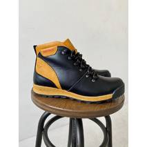 Підліткові черевики шкіряні зимові чорно-руді Brand T2
