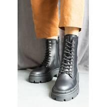 Жіночі черевики шкіряні весна/осінь чорні Emirro A - 46 на байці