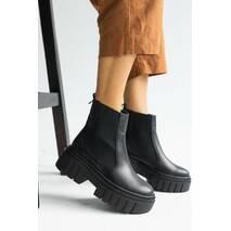 Жіночі черевики шкіряні весна/осінь чорні Emirro A - 38 на байці