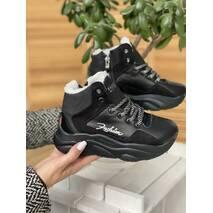 Дитячі кросовки шкіряні зимові черные-нубук CrosSAV 316 Sport