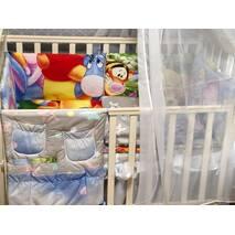 Набір постільної білизни в дитяче ліжечко (балдахін, подушка, простирадло, ковдра, бортики, кишеня-органайзер)