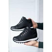 Подростковые кроссовки кожаные весна/осень черные высокие Road-style Бс024-01