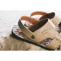 Мужские сандали кожаные летние оливковые Bonis Original 25