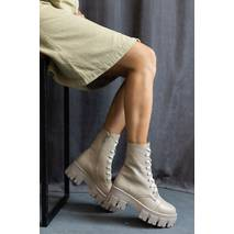 Жіночі черевики шкіряні весна/осінь бежеві Udg 2145/125 на байці