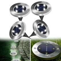 Комплект 4 шт. - Вуличні світильники на сонячній батареї Solar Disk 8led - dm8 - садові ліхтарі