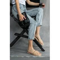 Женские шлепанцы кожаные летние бежевые Emirro 10518-505