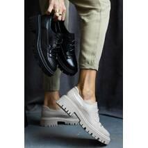 Женские туфли кожаные весна/осень черные OLLI т-306 Астра