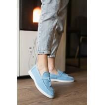 Жіночі лоферы замшеві весна/осінь блакитні Multi - shoes Piano