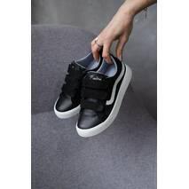 Детские кеды кожаные весна/осень черные-белые Emirro 21-08L Black Edition