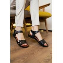 Женские босоножки кожаные летние черные Mkrafvt Comfort 0010