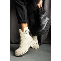 Жіночі черевики шкіряні весна/осінь молочні Udg 2202/103 на байці