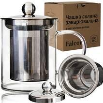 Чашка  стеклянная заварочная СНТИ Falconс металлическим ситечком 420 мл Falcon 201-7 (61-1)
