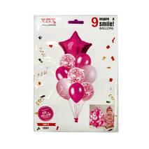 Композиция из 9 шаров темно-розовая, звезда (набор)