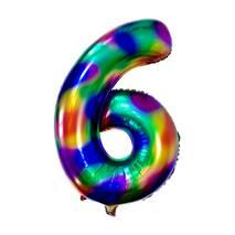 Фольгированный куля у вигляді цифри Шість 6 (веселка), 1 метр