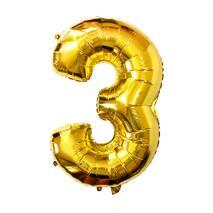 Фольгированный шар в виде цифры Три 3 (золото), 80 см