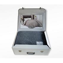 Вафельний плед Maison Dor Emeline Grey бавовна 240-260 см індиго