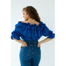 S.T.L Укорочена блуза-волан на гумці - синій колір, M