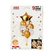 Композиция из 9 шаров золото, звезда (набор)