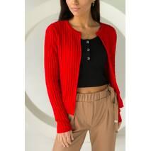 P-M Короткий кардиган со стильным узором - красный цвет, XL/XXL