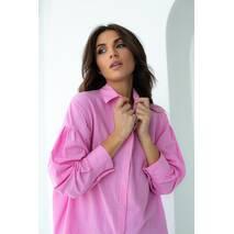 QU STYLE Бавовняна сорочка подовженого фасону на кнопках - рожевий колір, L