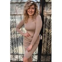 LUREX Однотонна трикотажна сукня з одностороннім лампасом - кавовий колір, S