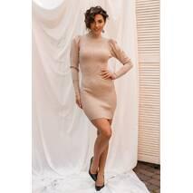 Jasmine Приталена сукня люрекс з цілісним коміром і трикутним рукавом - кавовий колір, L/XL