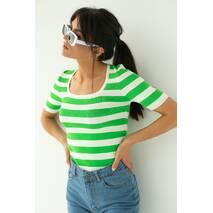 LUREX Приталена футболка в смужку - салатовий колір, M