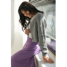 SOBE Укороченный кардиган с цветочною вышивкою - серый цвет, S