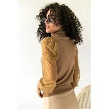 Jasmine Розкішний светр з ажурними рукавами декорованими принтом горох - кавовий колір, M