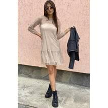 LUREX Нарядне сукня-двійка з горохом на сітці - кавовий колір, L