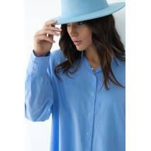 QU STYLE Хлопковая рубашка удлиненного фасона на кнопках - голубой цвет, L