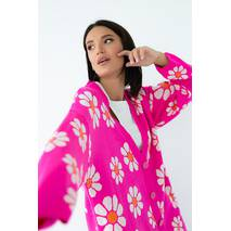 QU STYLE Кардиган оверсайз украшенный крупными цветами - фуксия цвет, L