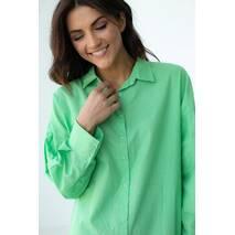 QU STYLE Хлопковая рубашка удлиненного фасона на кнопках - салатовый цвет, L