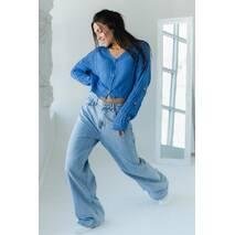SOBE Укороченный кардиган с цветочною вышивкою - джинс цвет, M