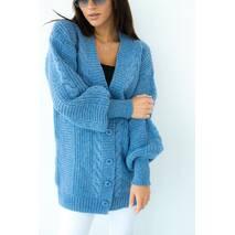 Enjoy Carnavale Удлиненный кардиган с объёмными рукавами - джинс цвет, L