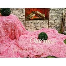 Меховый плед-травка евро размера розовый