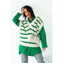 Fame Вязаная жилетка с V-образным вырезом в полоску - зеленый цвет, L