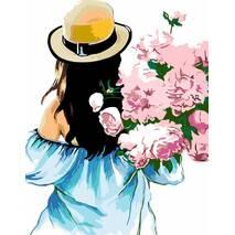 """Картина за номерами 35х45 см """"Дівчина з букетом півоній"""" Rosa N00013301"""