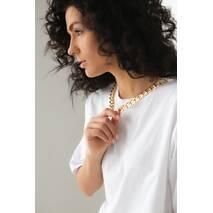 CLEW WOMAN Довга футболка з масивним золотистим ланцюжком - білий колір, L