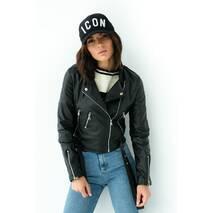 QU STYLE Стильна куртка косуха з екошкіри  - чорний колір, L