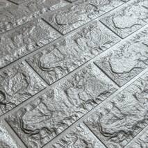 Декоративная 3D панель самоклейка под кирпич Серебро 700x770x7мм