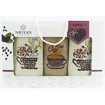 Набор кухонных полотенец ЗЕРНО КОФЕ 40х60 (3шт) NILTEKS Турция ТТ17