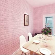 Декоративная 3D панель самоклейка под светло-розовый кирпич Одуваны 700x770x5мм
