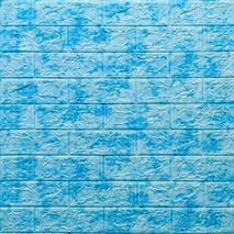 Декоративная 3D панель самоклейка под кирпич Голубой мрамор 700x770x5мм