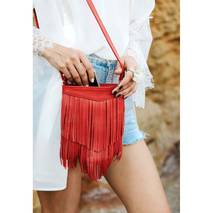 Шкіряна жіноча сумка з бахромою мини-кроссбоди Fleco червона